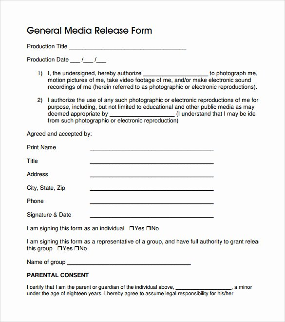 General Release form Template Best Of General Release form 7 Free Samples Examples & formats