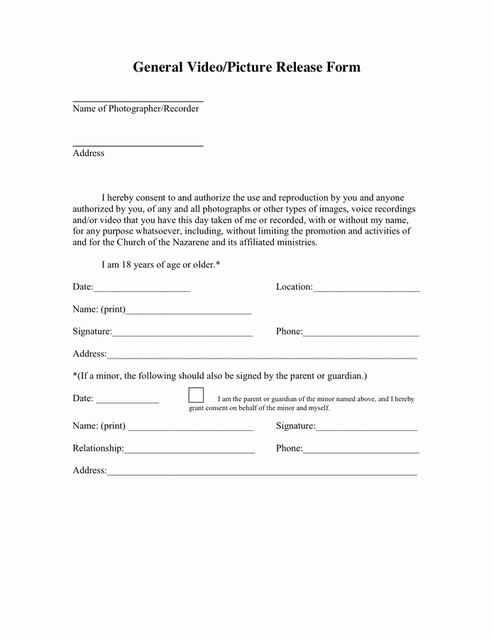 General Release form Template Elegant General Release form In Word and Pdf formats