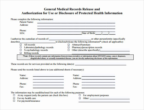 General Release form Template Inspirational Medical Records Release form 10 Free Samples Examples