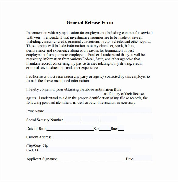 General Release form Template New Sample General Release form 10 Download Free Documents