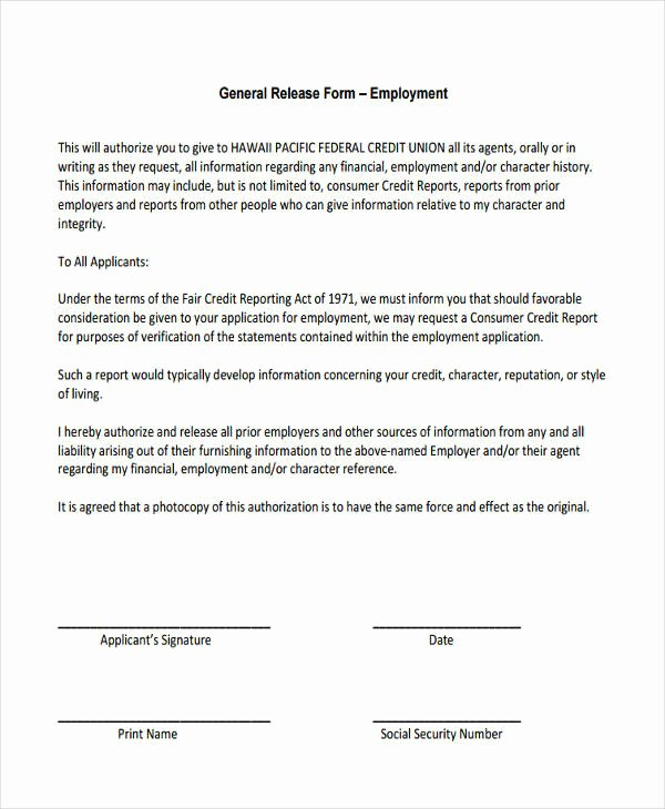 General Release form Template Unique General Release Information form
