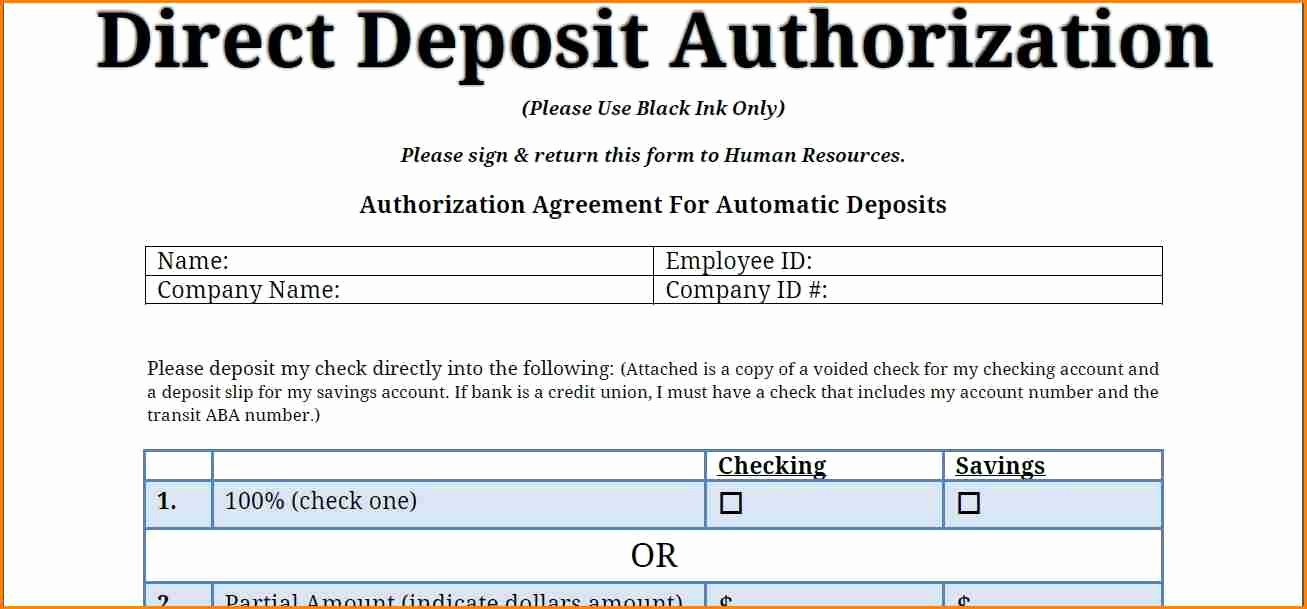Generic Direct Deposit form Awesome 9 Payroll Direct Deposit form Template