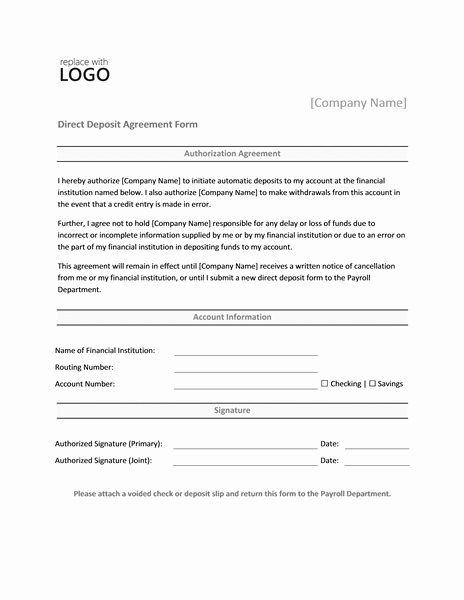 Generic Direct Deposit form Awesome Payrolls Fice