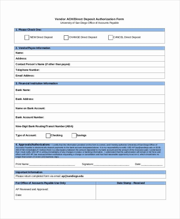 Generic Direct Deposit form Beautiful Sample Direct Deposit Authorization form 10 Examples In