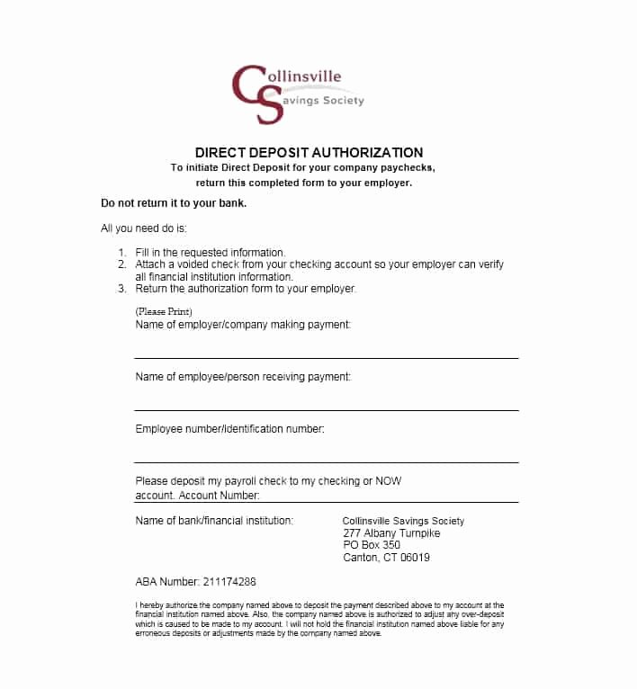 Generic Direct Deposit form Elegant 47 Direct Deposit Authorization form Templates Template