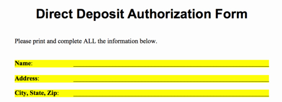 Generic Direct Deposit form Elegant Free Direct Deposit Authorization forms Pdf