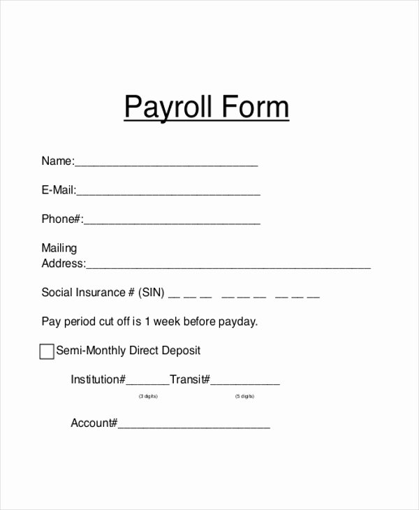Generic Direct Deposit form Fresh Sample Payroll forms 19 Free Documents In Word Pdf