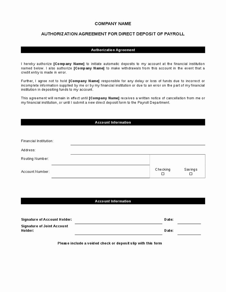 Generic Direct Deposit form Inspirational Generic Direct Deposit form