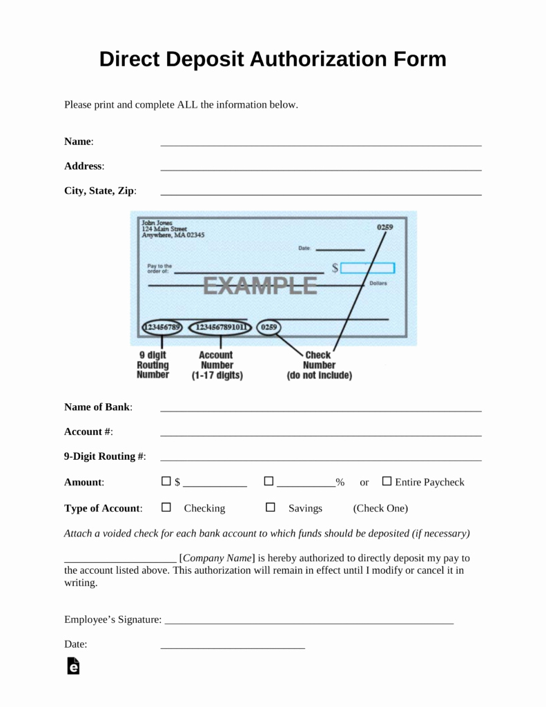 Generic Direct Deposit form Lovely Free Direct Deposit Authorization forms Pdf