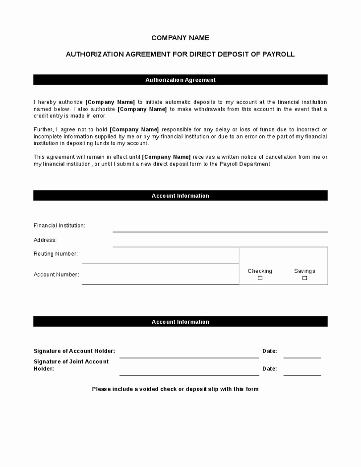 Generic Direct Deposit form Lovely Generic Direct Deposit form