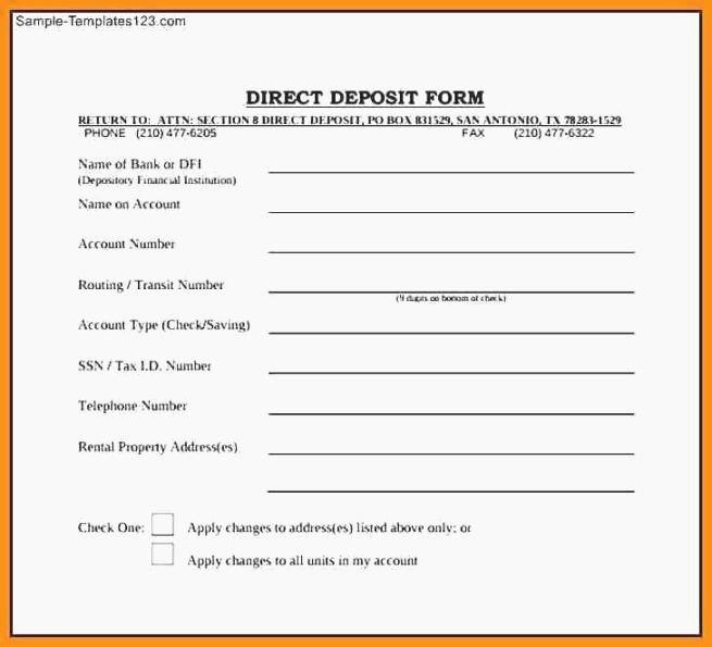 Generic Direct Deposit form Luxury Clean Printable Direct Deposit form