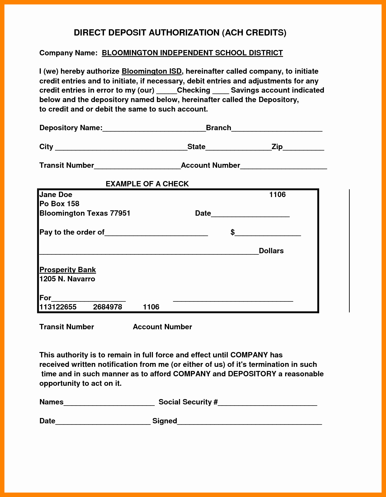 Generic Direct Deposit form New 10 Securitas Direct Deposit form