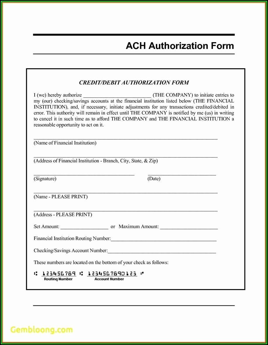 Generic Direct Deposit form New Ach Direct Deposit Authorization form form Resume