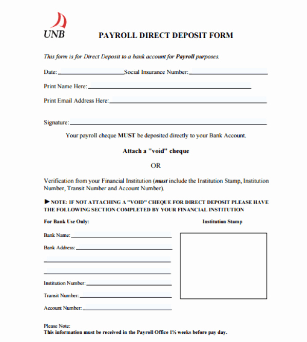 Generic Direct Deposit form Unique 4 Direct Deposit form Templates Free Sample Templates
