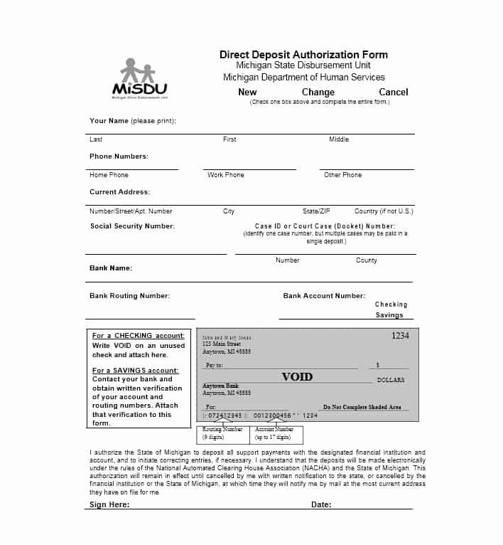 Generic Direct Deposit form Unique 47 Direct Deposit Authorization form Templates Template