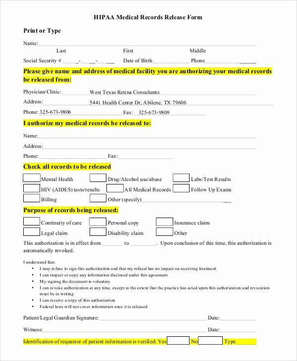 Generic Medical Records Release form Beautiful Generic Release forms