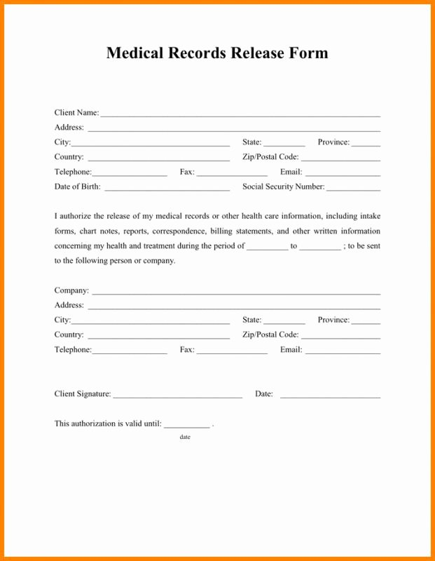 Generic Medical Records Release form Best Of Generic Medical Records Release form the Story Generic