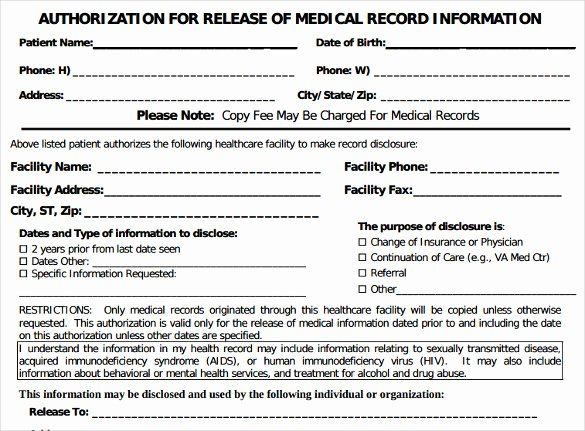 Generic Medical Records Release form Fresh Generic Medical Records Release form 7 Download Free