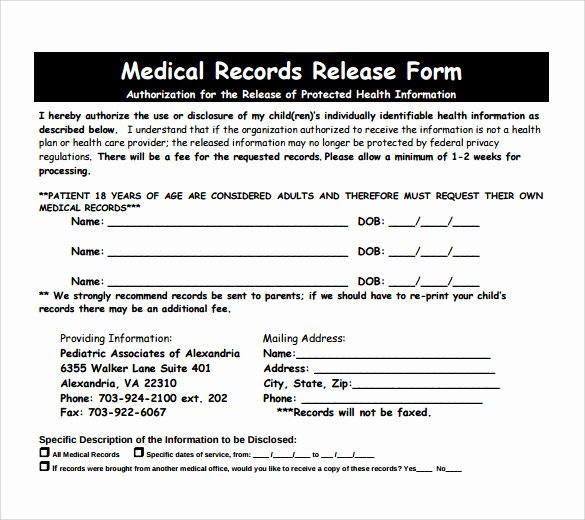 Generic Medical Records Release form Fresh Medical Records Release form 10 Free Samples Examples
