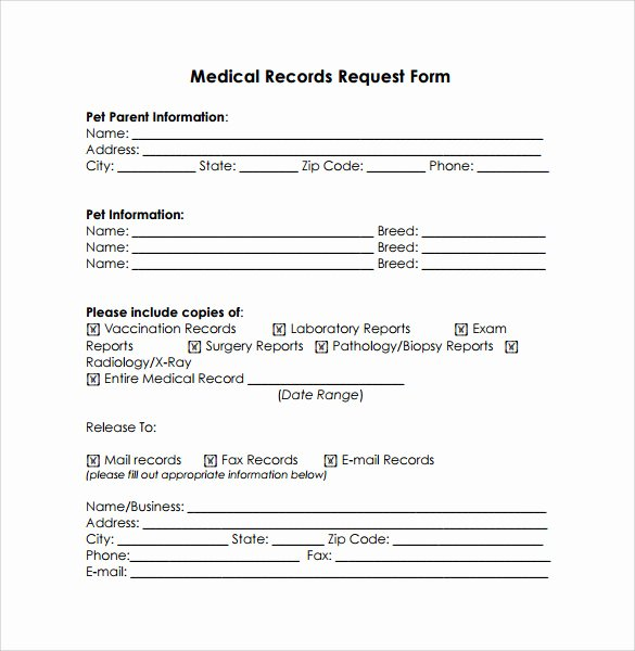 Generic Medical Records Release form Inspirational Medical Records Release form 10 Free Samples Examples
