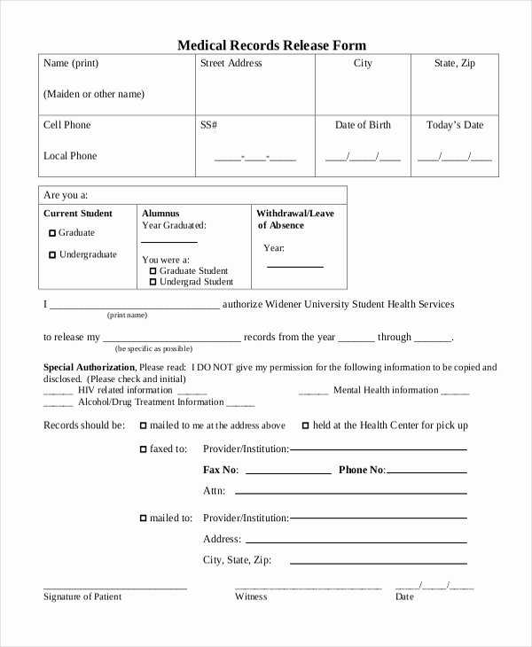 Generic Medical Records Release form Lovely Sample Medical Records Release form 10 Free Documents