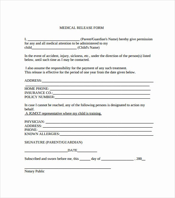 Generic Medical Records Release form Lovely Sample Medical Release form 10 Free Documents In Pdf Word