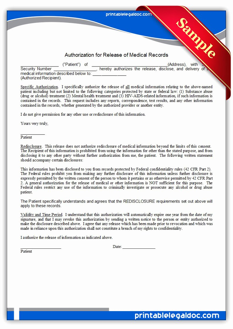 Generic Medical Records Release form New Free Printable Authorization for Release Medical
