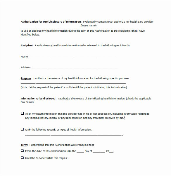 sample generic medical record release form