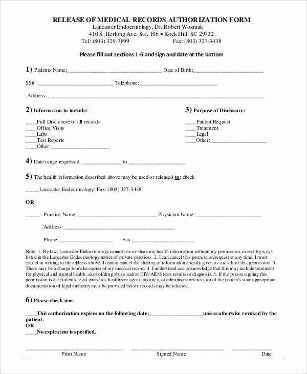 Generic Medical Records Release form New Generic Release forms