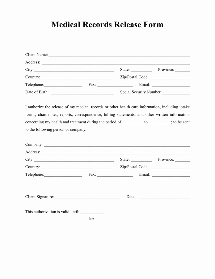 Generic Medical Records Release form New Medical Records Release form