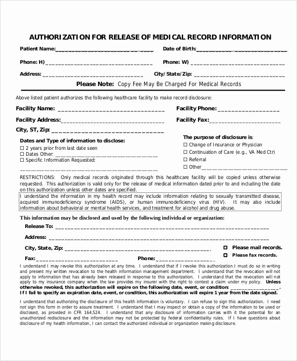 Generic Medical Records Release form New Sample Medical Authorization Release form 8 Examples In