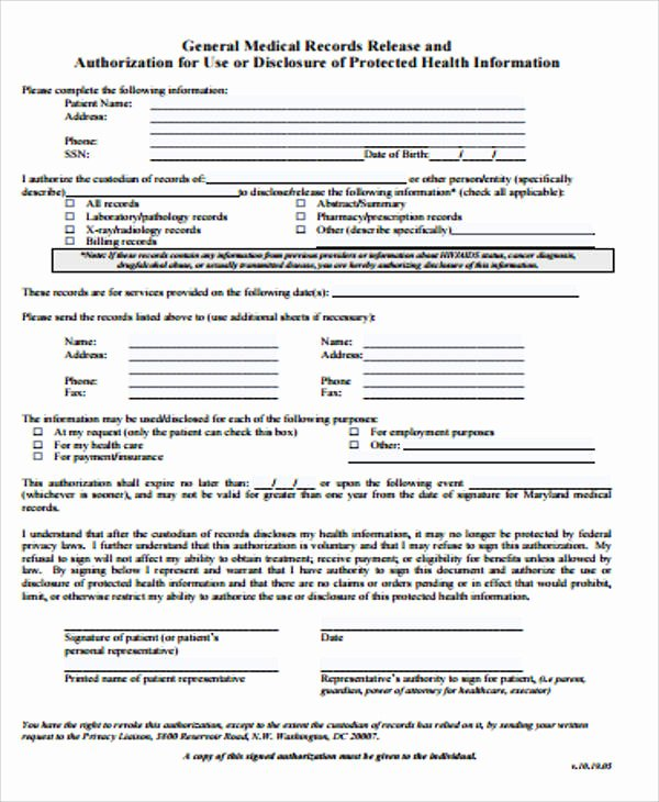 Generic Medical Records Release form Unique General Release form Sample 8 Examples In Word Pdf
