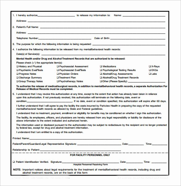 Generic Medical Records Release form Unique Generic Medical Record Release form 10 Free Samples