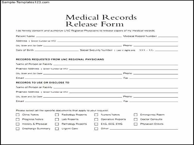 Generic Medical Records Release form Unique Generic Release Liability form Price Specs and Release