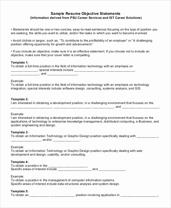 Generic Objective for Resume Fresh Generic Resume Template 28 Free Word Pdf Documents
