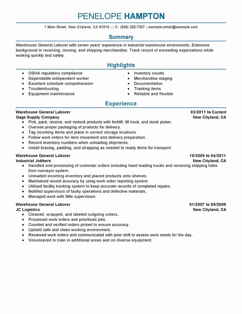 Generic Objective for Resume Unique Best General Labor Resume Example
