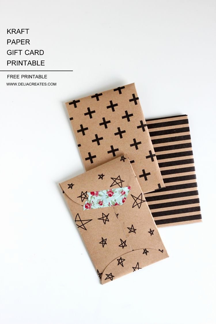 Gift Card Envelope Template Lovely Kraft Paper Gift Card Envelope Free Printable