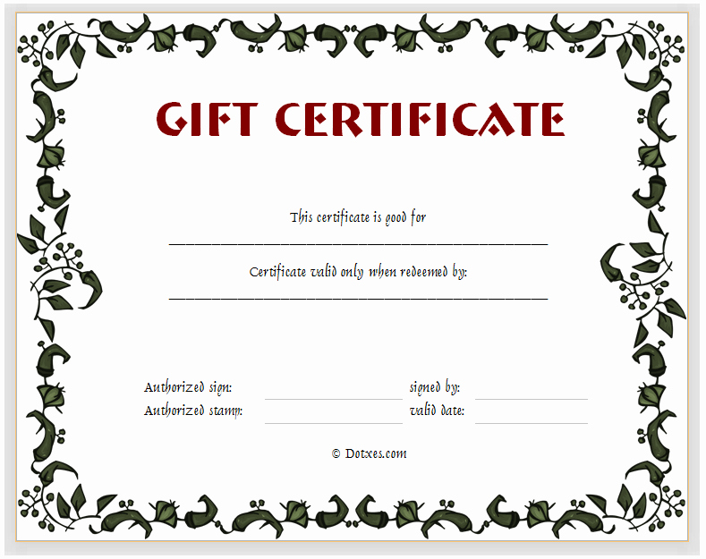 Gift Certificate Template Pages Lovely Gift Certificate Template Floral Design Dotxes