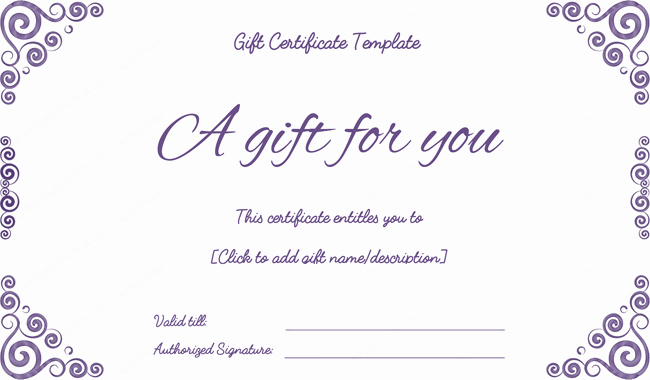 Gift Certificate Template Pages Luxury Purple Free Printable T Certificates Pdf