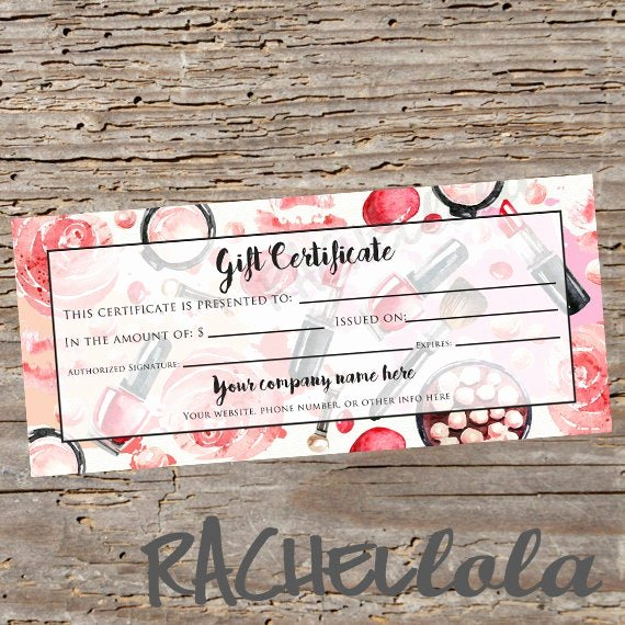 Gift Certificate Template Pages New Custom Red Makeup Printable Gift Certificate Template