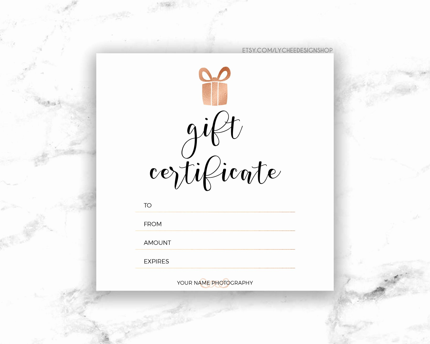 Gift Certificate Template Pages Unique Printable Rose Gold Gift Certificate Template Editable