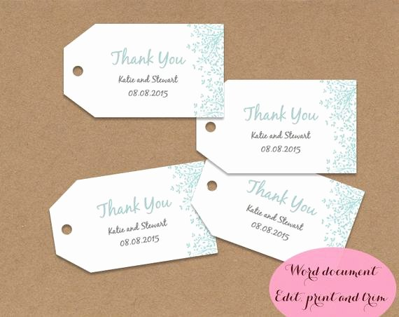 Gift Tag Template Word Beautiful Gift Tags Wedding Favors Editable Printable Word Doc Aqua