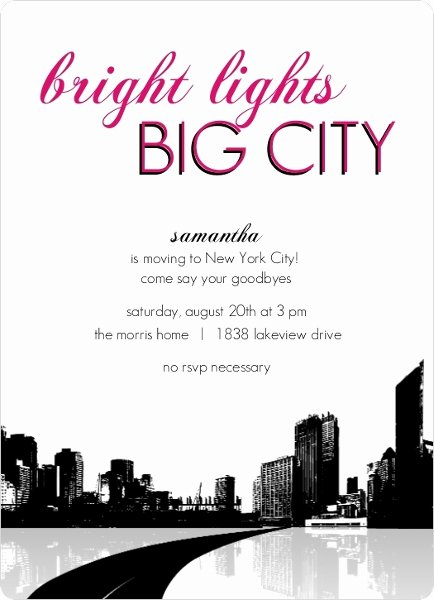 Going Away Party Invitation Inspirational Bright Lights Big City Going Away Party Invitation