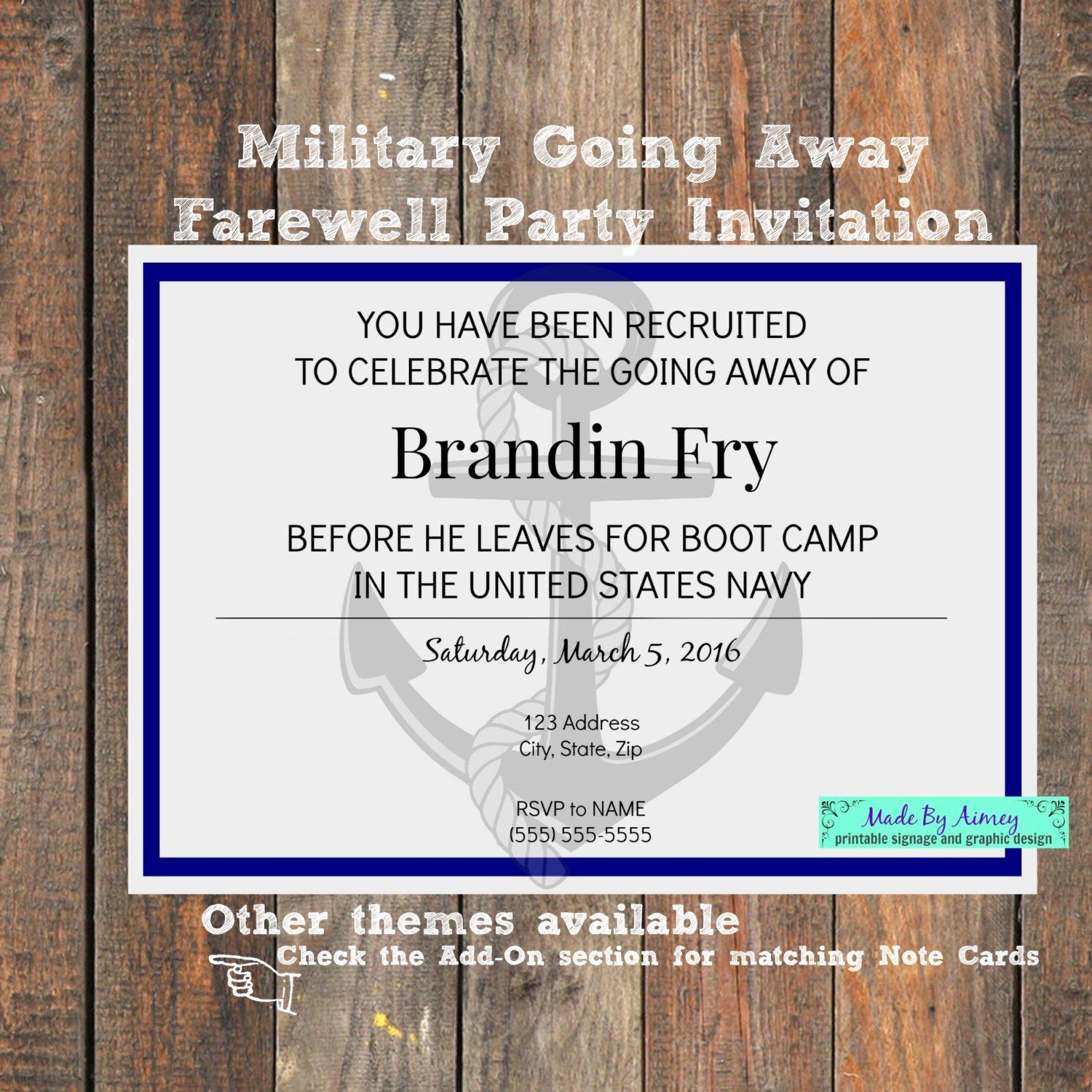 Going Away Party Invitation Lovely Military Going Away Farewell Party Invitation