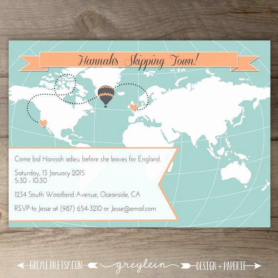 Going Away Party Invitation Luxury World Map Going Away Party Invitations Goodbye Party Invites