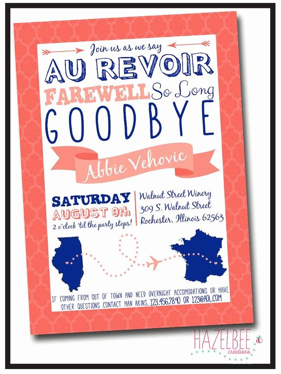 Going Away Party Invitation New Going Away Party Invitation by Hazelbeecreations On Etsy