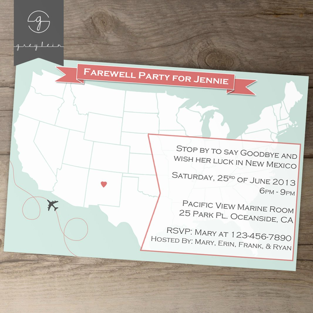Going Away Party Invitation New Going Away Party Invitations Goodbye Party Invites by