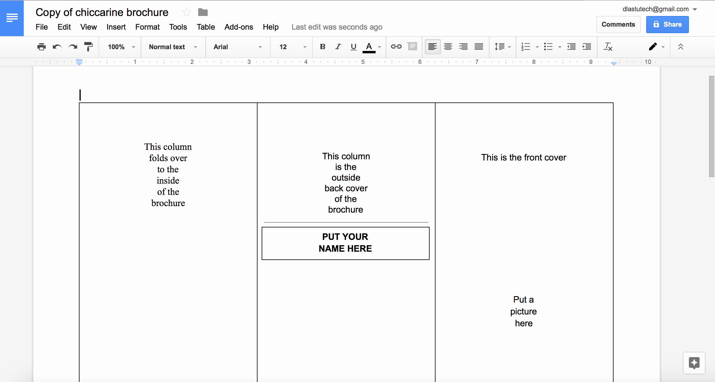 making a brochure using google docs from a template