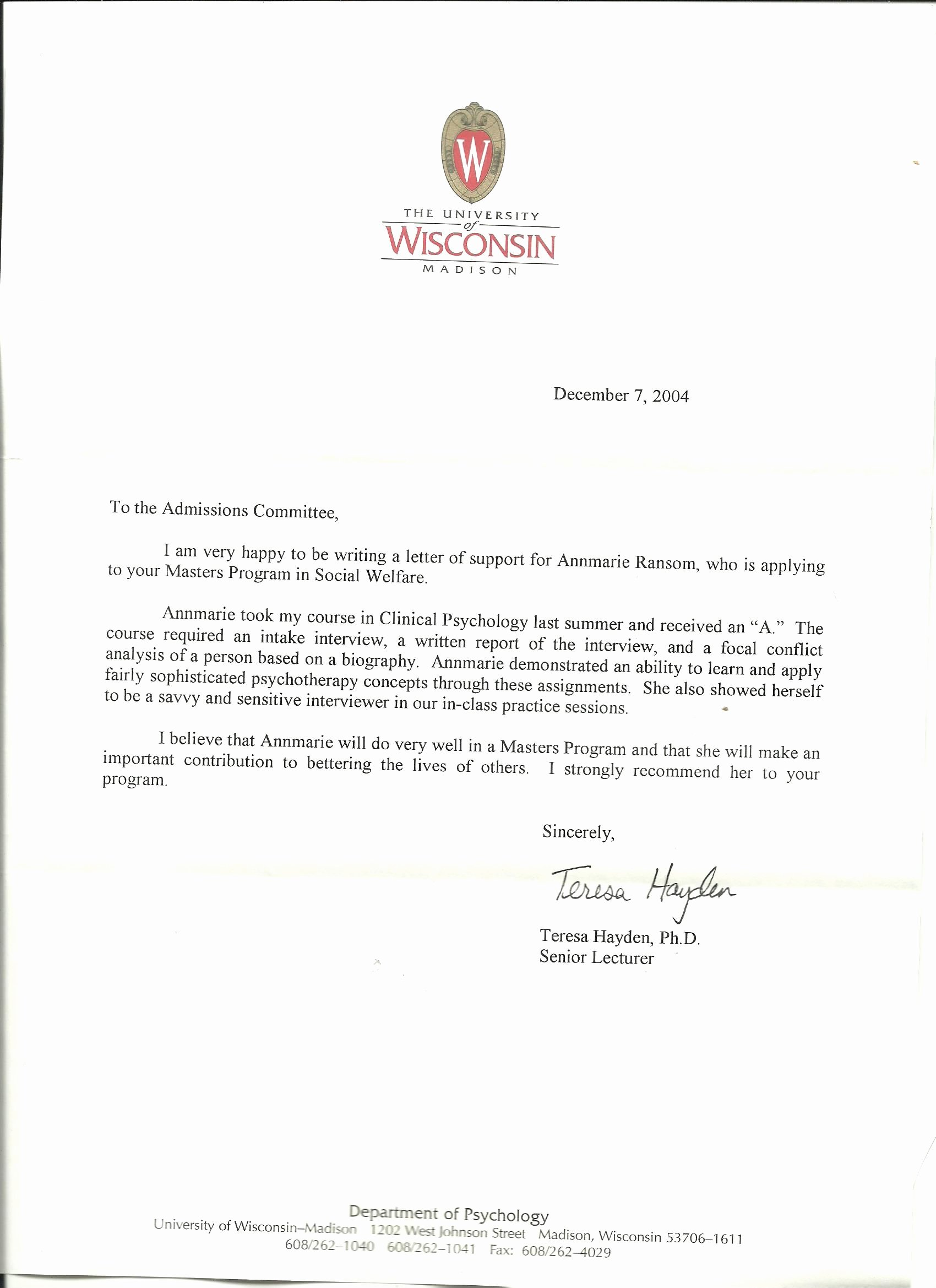 Grad School Letter Of Recommendation Awesome Graduate School Re Mendation Letter