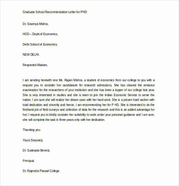 Grad School Letter Of Recommendation Elegant Free 45 Sample Letters Of Re Mendation for Graduate